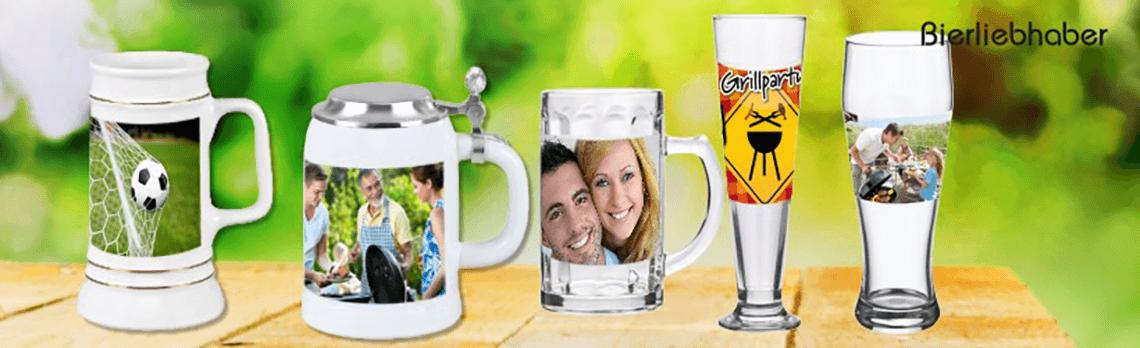 bedruckte Bierkrüge und Biergläser