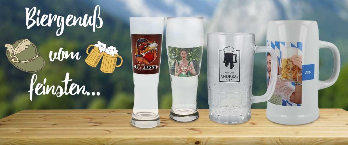 Bierkrug und Bierglas bedrucken und gestalten