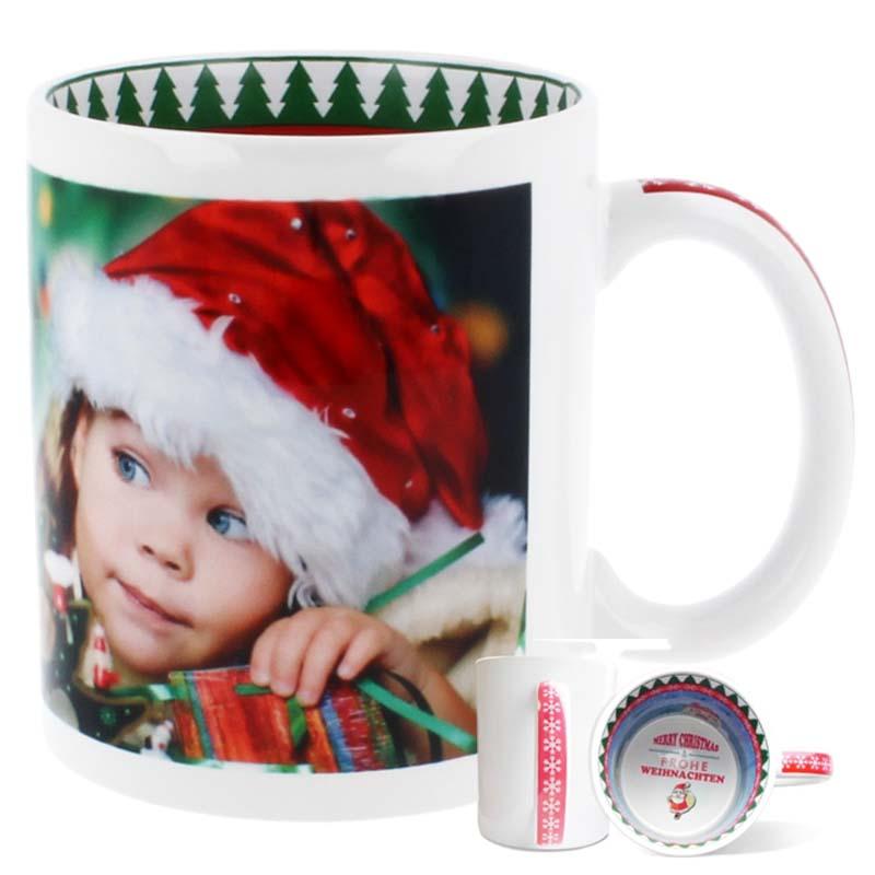 Weihnachtstasse mit Innendruck und Henkeldruck