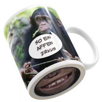 Fototasse mit Bodendruck Affe grinst