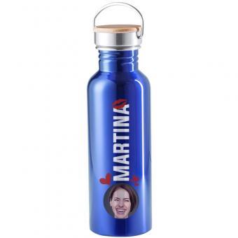 Blaue Trinkflasche aus Edelstahl