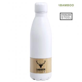 Trinkflasche Edelstahl matt mit Bambusring