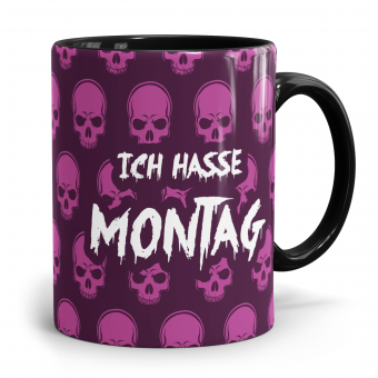 Sprüchetasse - Hasse Montag Totenköpfe