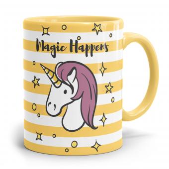 """Einhorn Tasse """"Magic Happens"""" Goldyellow"""