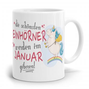 """Einhorn Tasse """"Schönsten Einhörner - Januar"""""""