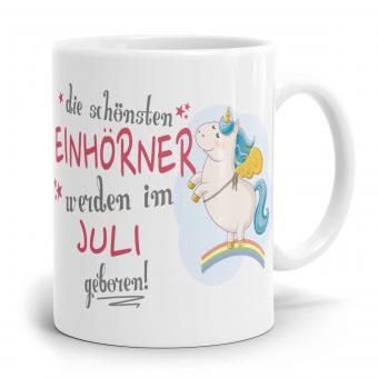 """Einhorn Tasse """"Schönsten Einhörner - Juli"""""""