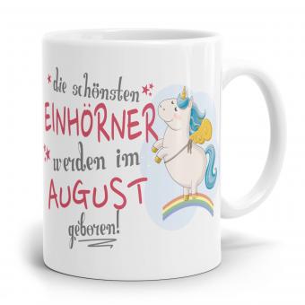 """Einhorn Tasse """"Schönsten Einhörner - August"""""""
