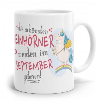 """Einhorn Tasse """"Schönsten Einhörner - September"""""""