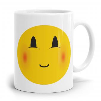 """Emoji Emoticons Tasse """"Verlegenes Gesicht"""""""