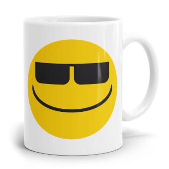 """Emoji Emoticons Tasse """"Gesicht mit Sonnenbrille"""""""