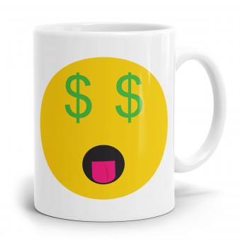 """Emoji Emoticons Tasse """"Geld Gesicht"""""""