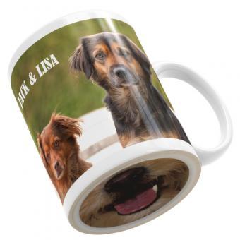 Fototasse mit Bodendruck Hundezunge