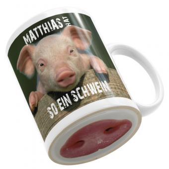 Fototasse mit Bodendruck Schweineschnauze