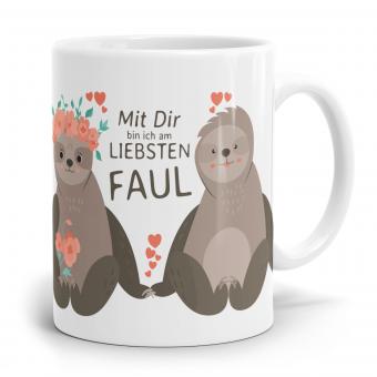 Faultier Tasse - Mit dir bin ich am liebsten faul