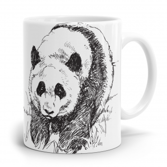 Panda Tasse - Panda Strichzeichnung