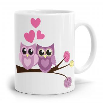 Eulen Tasse - Verliebte Eulen auf Ast