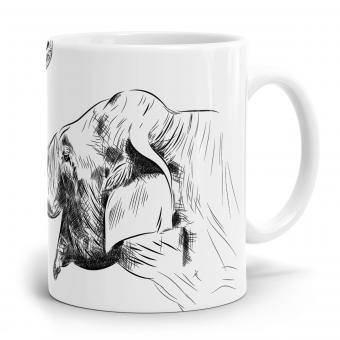 Elefant Tasse - Strichzeichnung