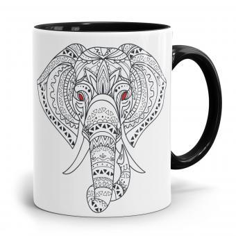 Elefant Tasse - Muster und rote Augen
